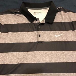 Nike Golf Black and Gray Striped Polo XXL